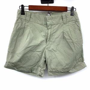 Zara Olive Green Mid Rise Cuffed Shorts